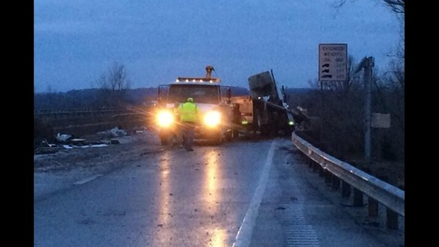 Truck Accident Spills Wood and Shuts Down Parkway