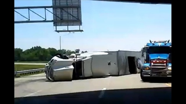 Overturned Semi on I-164 N bound