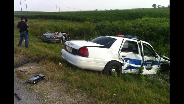 Police Say Trooper Crashed into Car on Interstate