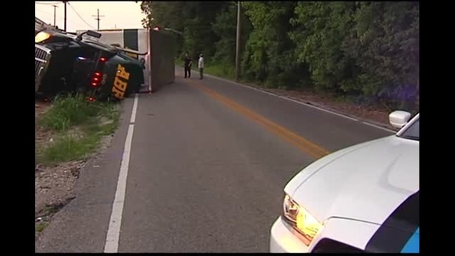 Semi Overturns into Ditch Along Stockwell Rd.