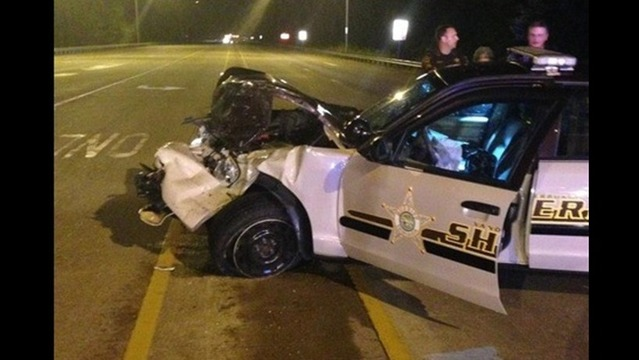 Deputies say Pick-up Truck Driver Crossed Path of Sheriff's Deputy, Causing Crash