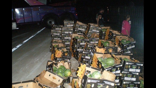 Semi-Truck Scatters Watermelon on Highway After Accident