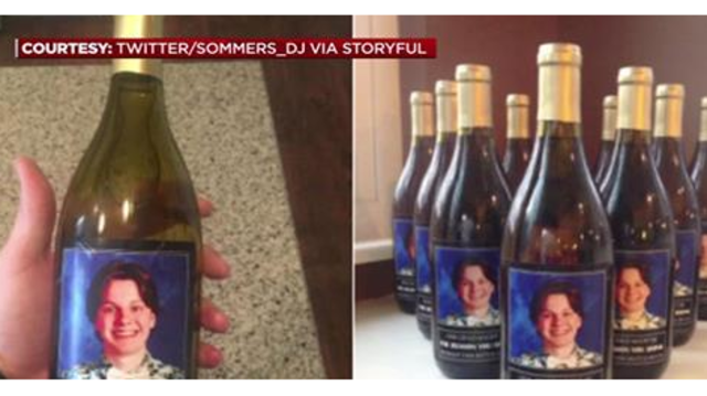 Parents Give Teachers Wine With Picture Of Son's Face