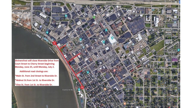 Downtown roads closing for ShrinersFest