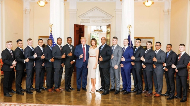 Local U.S. Marine spends time with President Trump in London