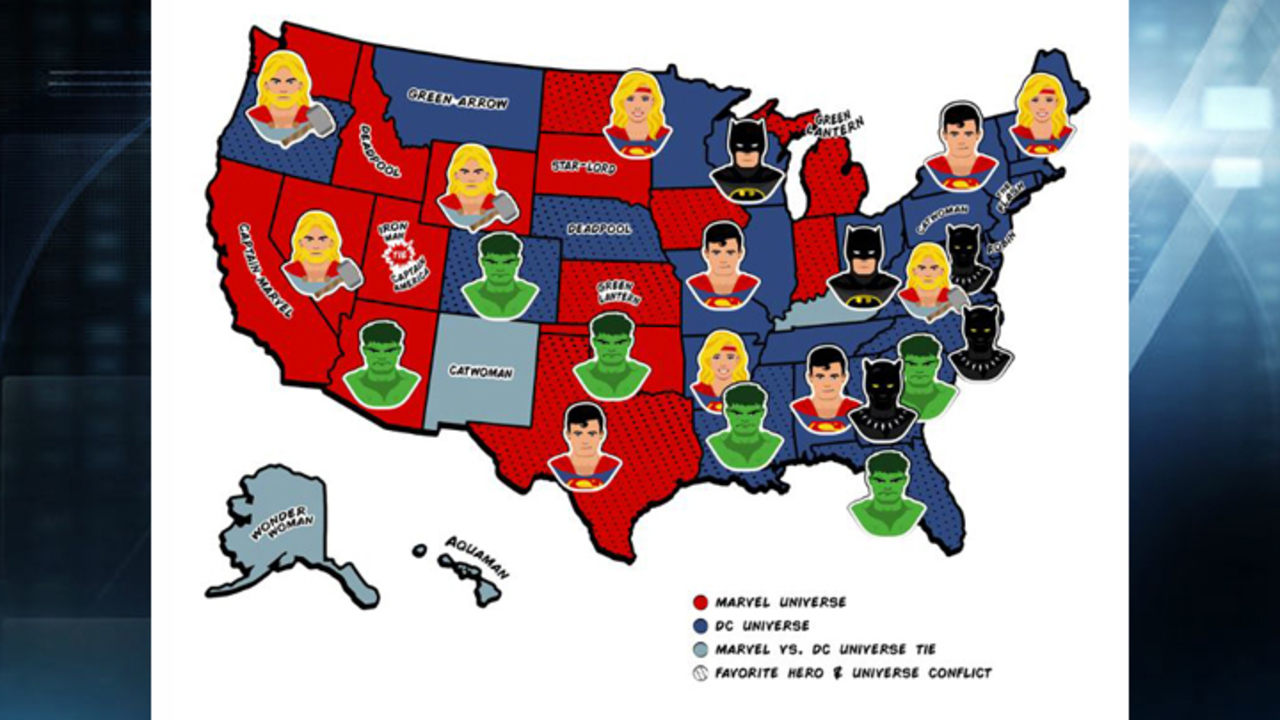 Report Finds Which Superheroes Are Each States Favorite - Dc-universe-us-map